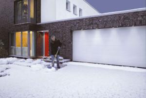 Steel garage door in snow