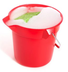 Bucket soapy water