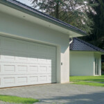 Sectional white double garage door