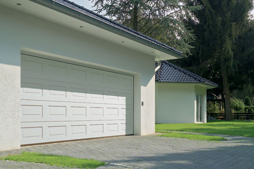 Sectional white double garage door