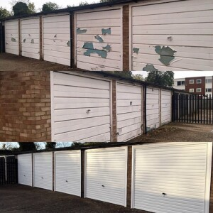 The removal of old garage doors and replacement Novoferm steel up and over doors in a horizontal design called a 'Naseby'
