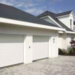 Pair of white garage doors