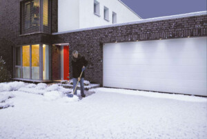 Steel garage door in snow