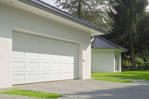 White panelled steel double garage door
