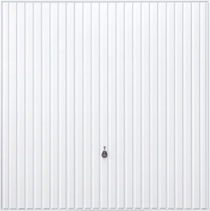 White timber vertical groove up and over garage door