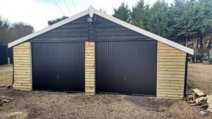 Novoferm black Thornby doors after installation