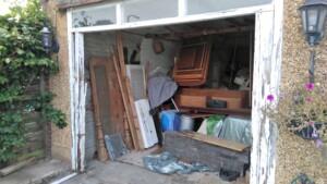 Garage with old door removed