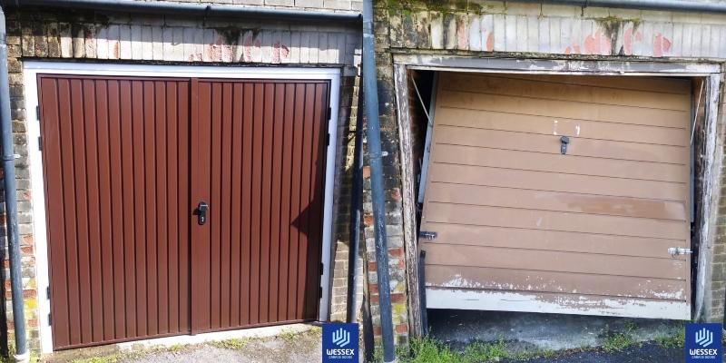 Cardale Gemini outward opening steel side-hinged garage door in Conker Brown