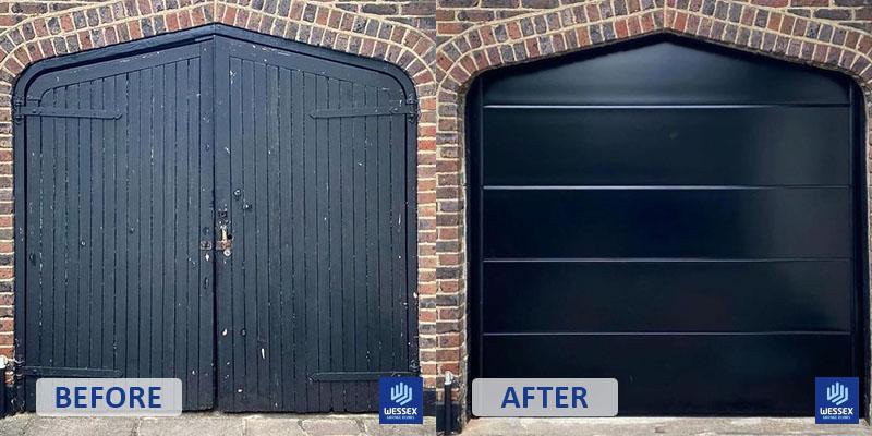 Before and after black garage door