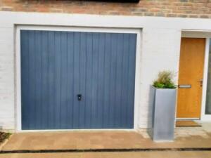 Blue Verwood Garage Door with handle