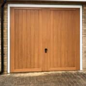 CDC GRP fibreglass Kingston Honey Beech garage door with white steel frame