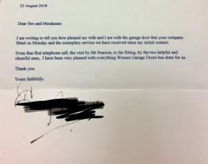 Customer letter advising they were pleased with Wessex Garage Doors service they received