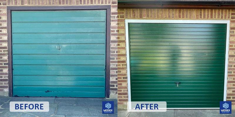 Before and after dark green garage door