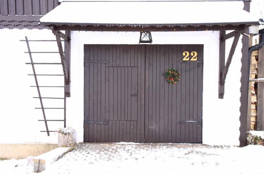 Farm Style Wooden Garage Door image