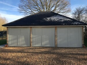 GRP Kingston design triple garage doors