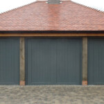 GRP Up and Over Garage Door -dark timber triple door