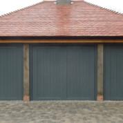 GRP Up and Over Garage Door -dark timber triple door