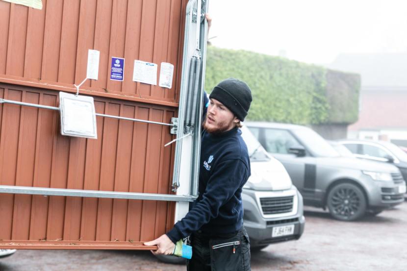 Garage Door Being Carried