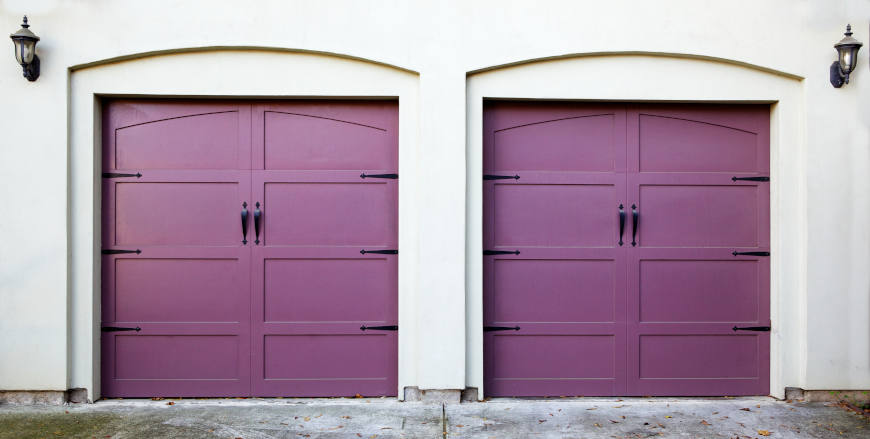 Two Violet Garage Doors