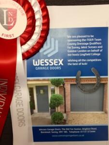Wessex Garage Doors Sponsors the National Schools Equestrian Association Team County Dressage Qualifiers