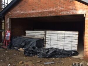 A garage before the door has been installed