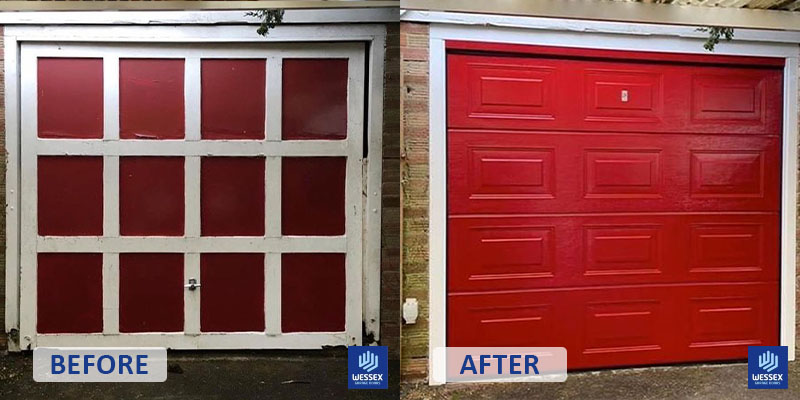 Before and after red garage door