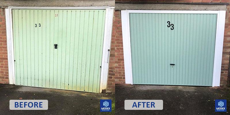 Before and after sage green garage door