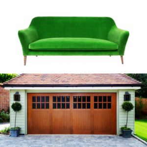 Green Sofa and Garage Door