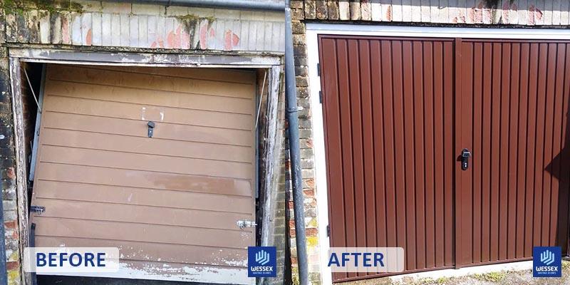 Before and after beige to wood garage door