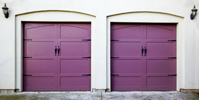 Violet coloured garage doors