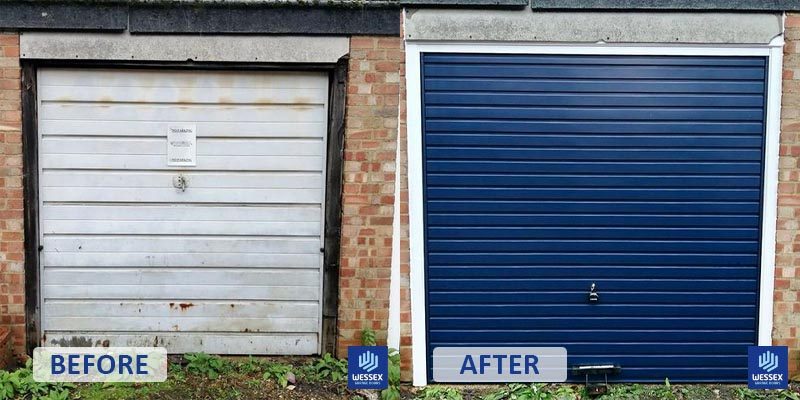 Before and after white to navy garage door
