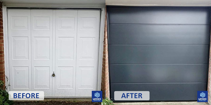 Before and after white to grey garage door