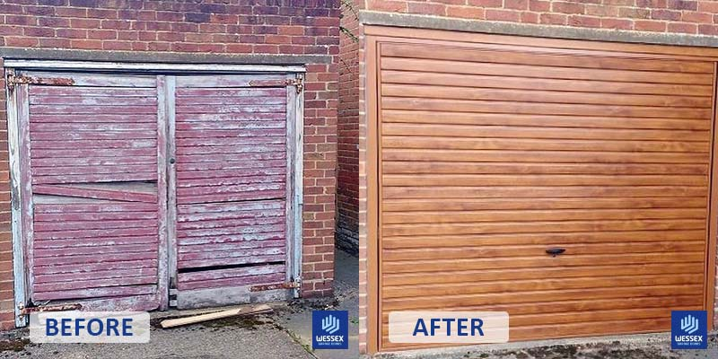 Before and after red to wood garage door