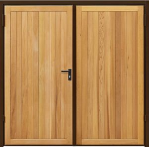 Wooden side hinged garage doors