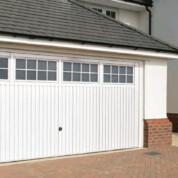 White Steel Up and Over Garage Door