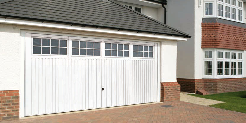 Steel garage door - white double garage door with four window panels