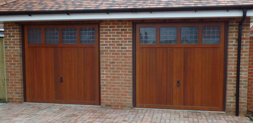 Timber Up and Over Garage Door - twin garage doors