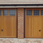 Timber Up and Over Garage Door - twin doors with glass panels